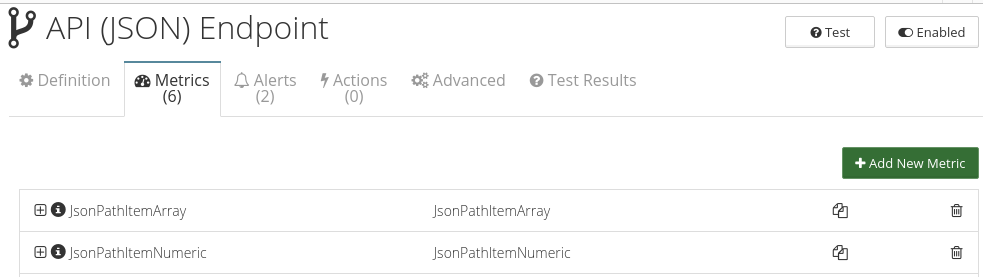 CloudMonix API (JSON) Endpoint monitoring metrics
