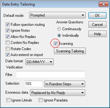 Data Entry tailoring dialog