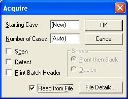 SCAN acquire dialog read from file checked