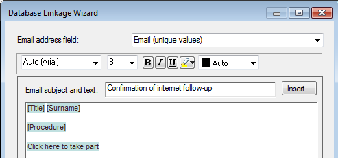 Address field mapping for database link