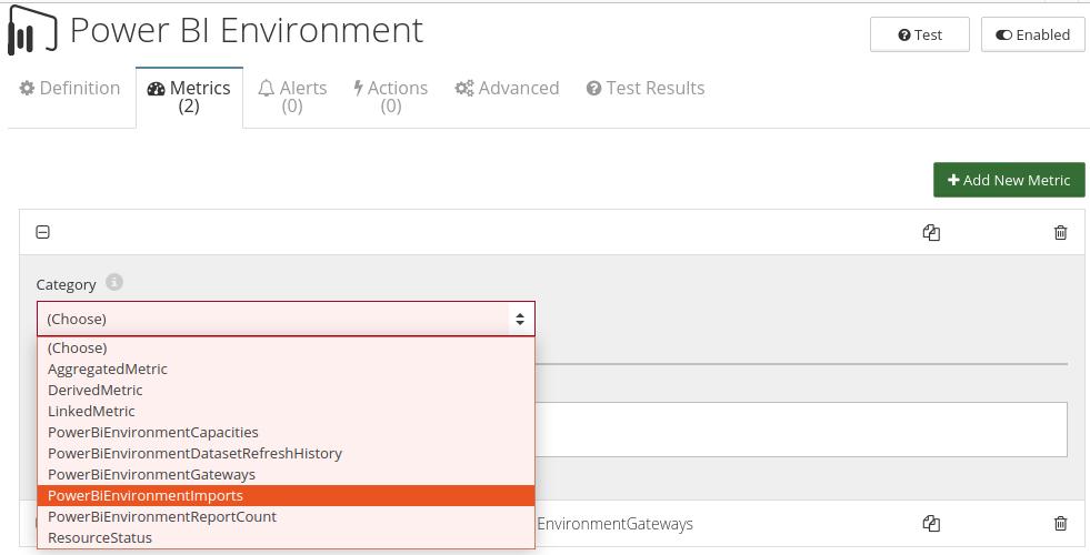 CloudMonix Power BI Environment monitoring metrics