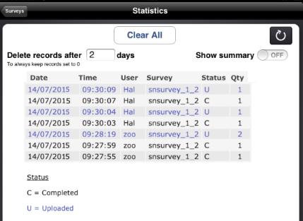 IPAD: statistics screen