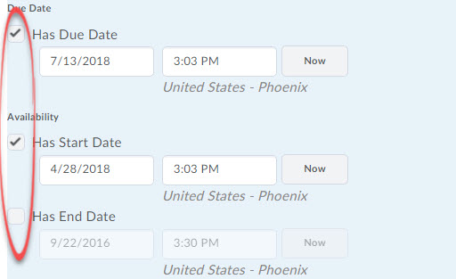 dates check boxes