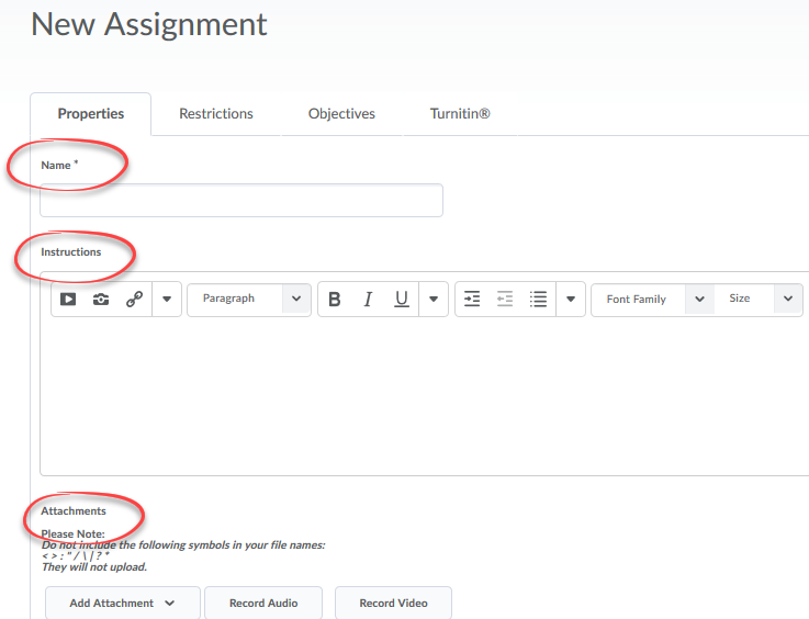 image of name, instructions fields and attachment button