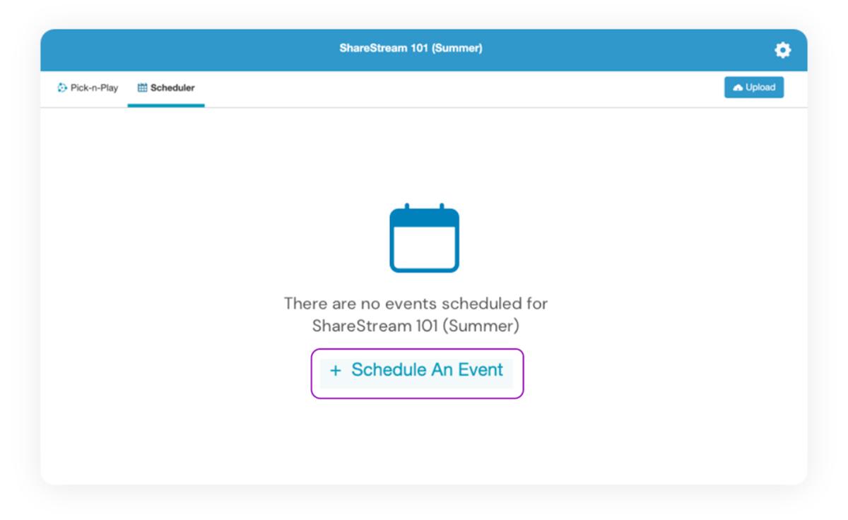 Scheduling an Event using ShareStream's Capture Scheduler