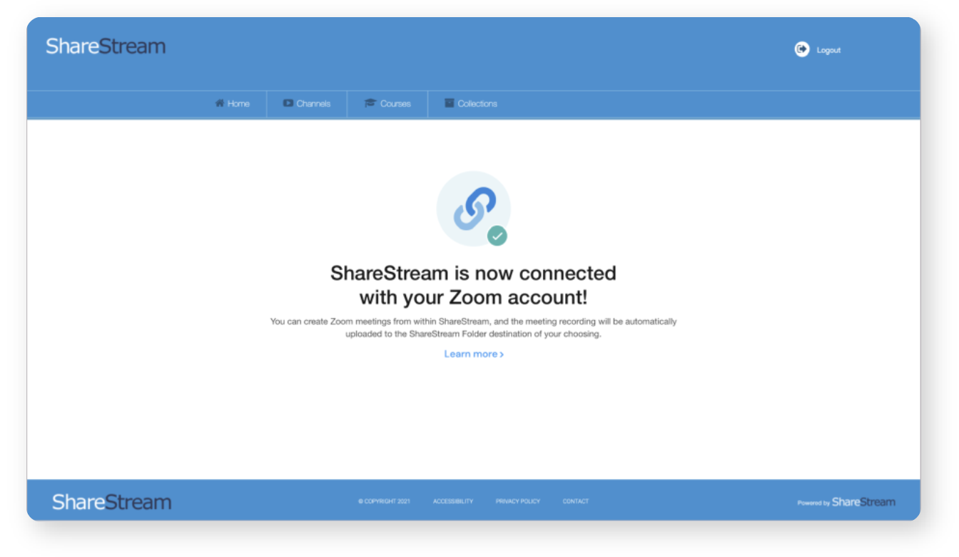 Confirming ShareStream is connected with Zoom