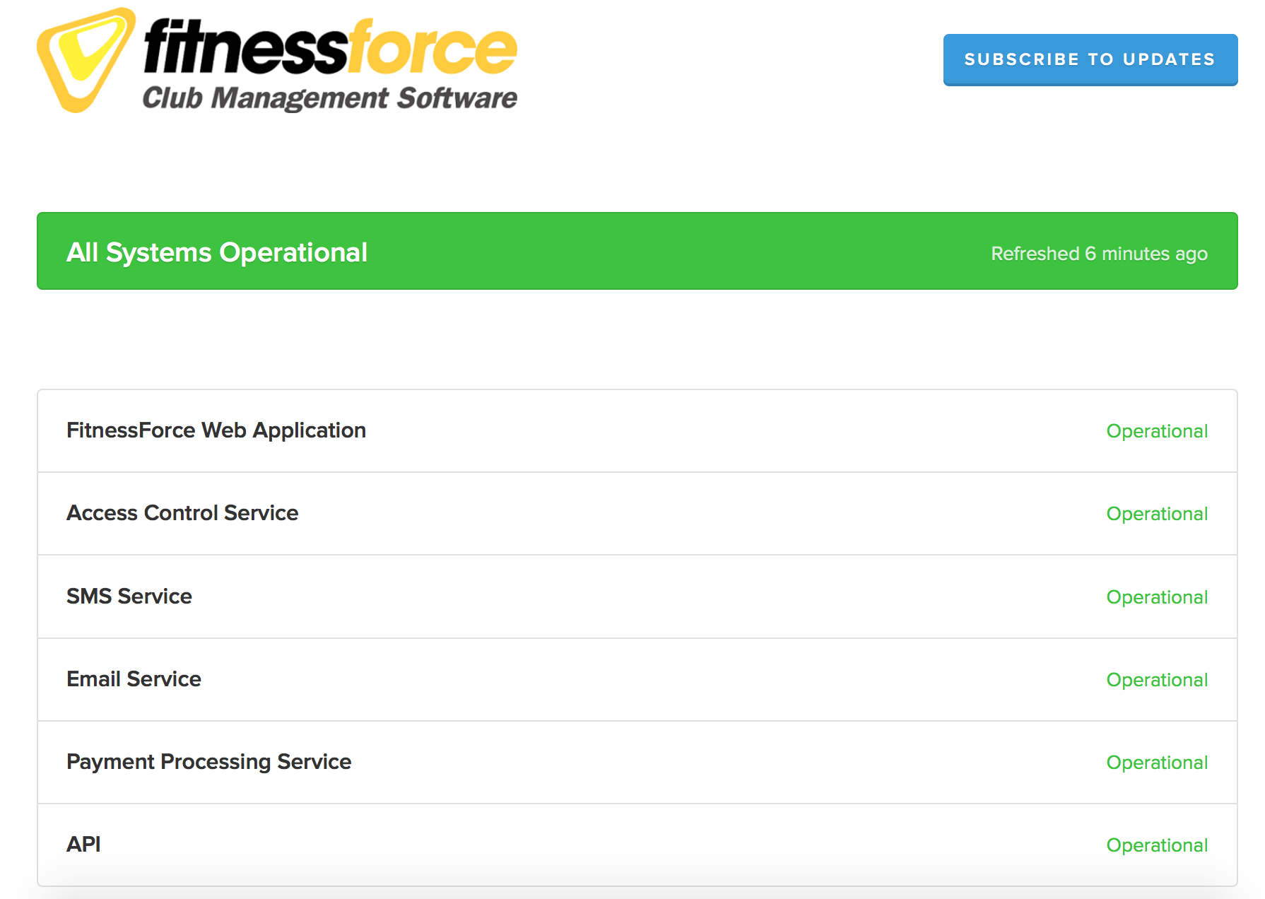 FitnessForce Status page