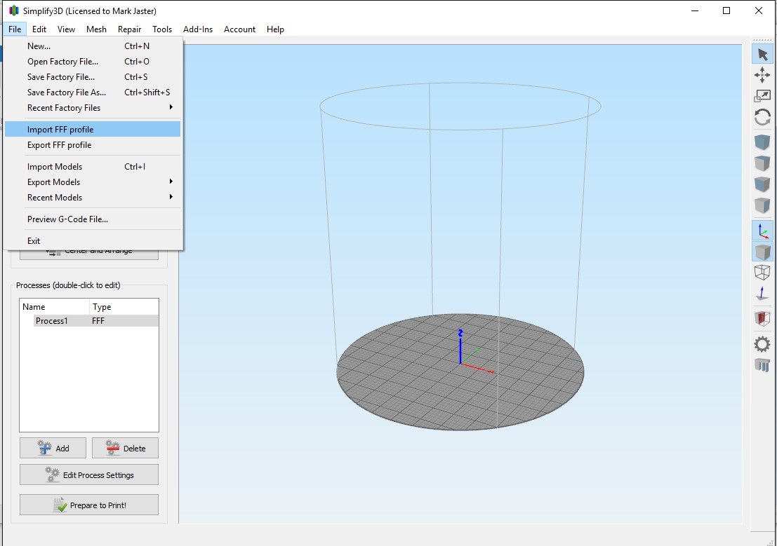 Importing Simplify3D -Altair V3- Settings : Support Center