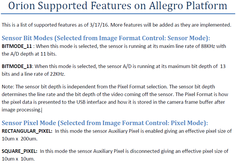 Orion 2K Supported Features on Allegro Platform : ISG Product Support