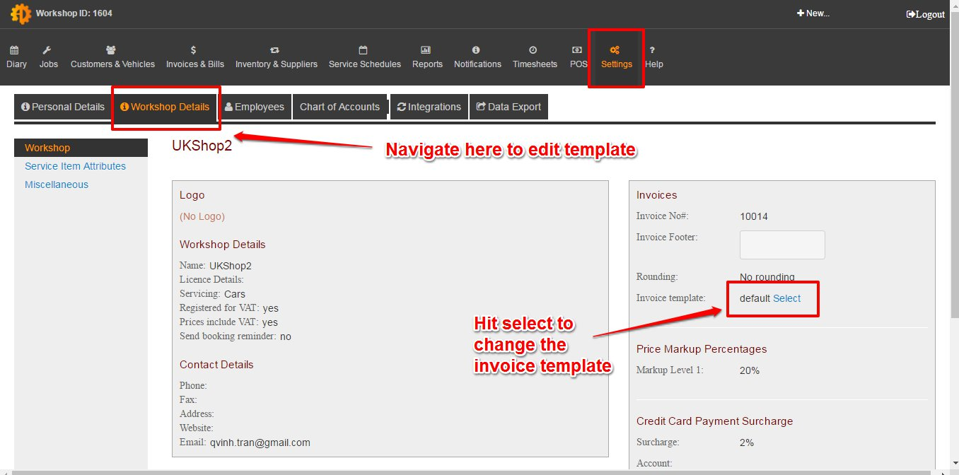 fin1 can i customise my invoice template mechanicdesk support