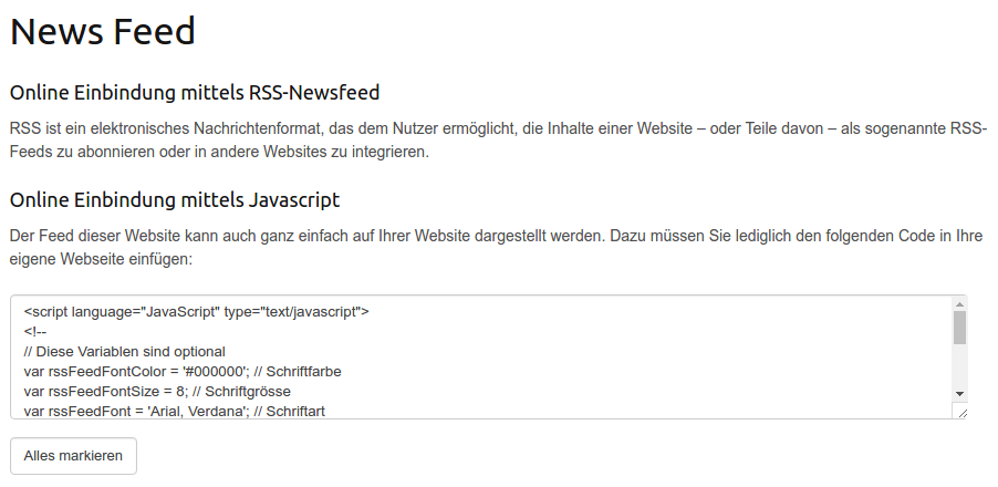 Einbindung der News Artikel auf einer anderen Website : Support