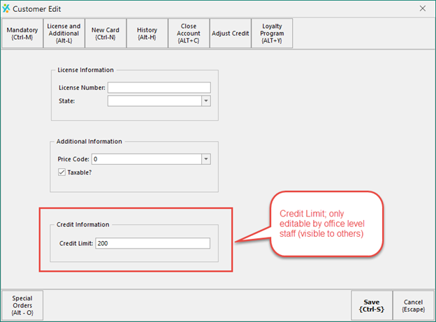 Manage Customer Credit Limit