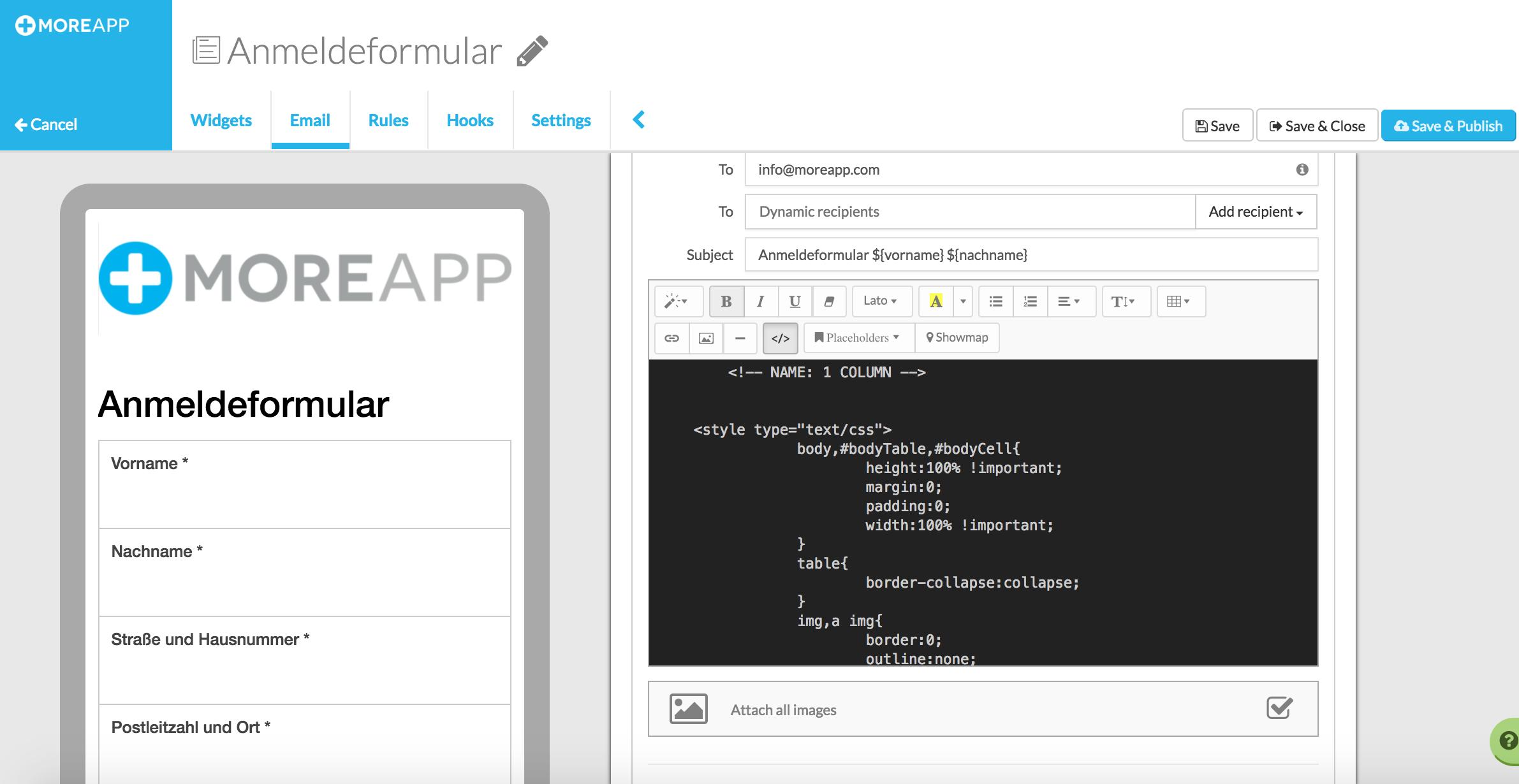 Ein MailChimp-Design zu einer MoreApp-Email hinzufügen : Help Center