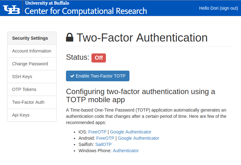 Managing Two-factor Authentication with the Identity