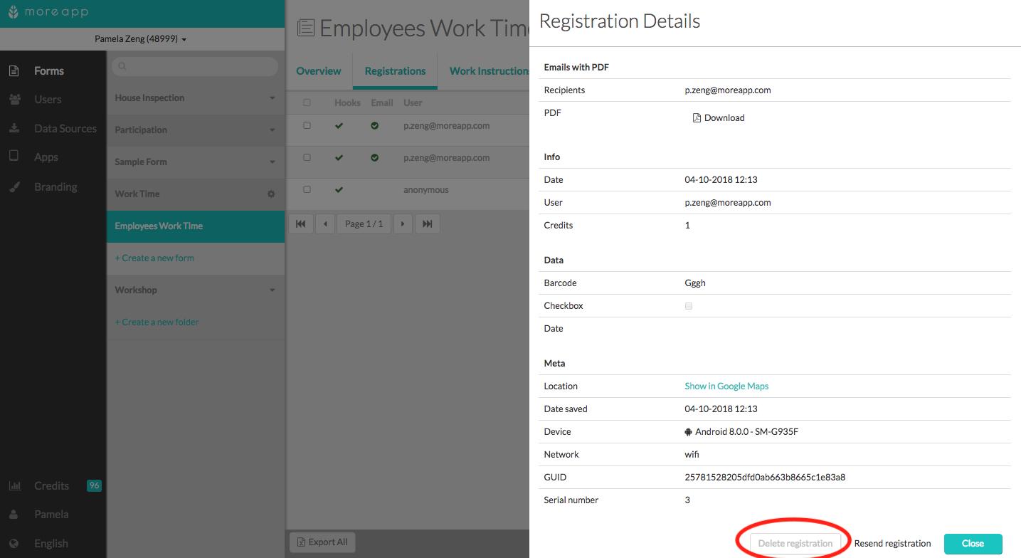 How to Delete a Registration | MoreApp : Help Center