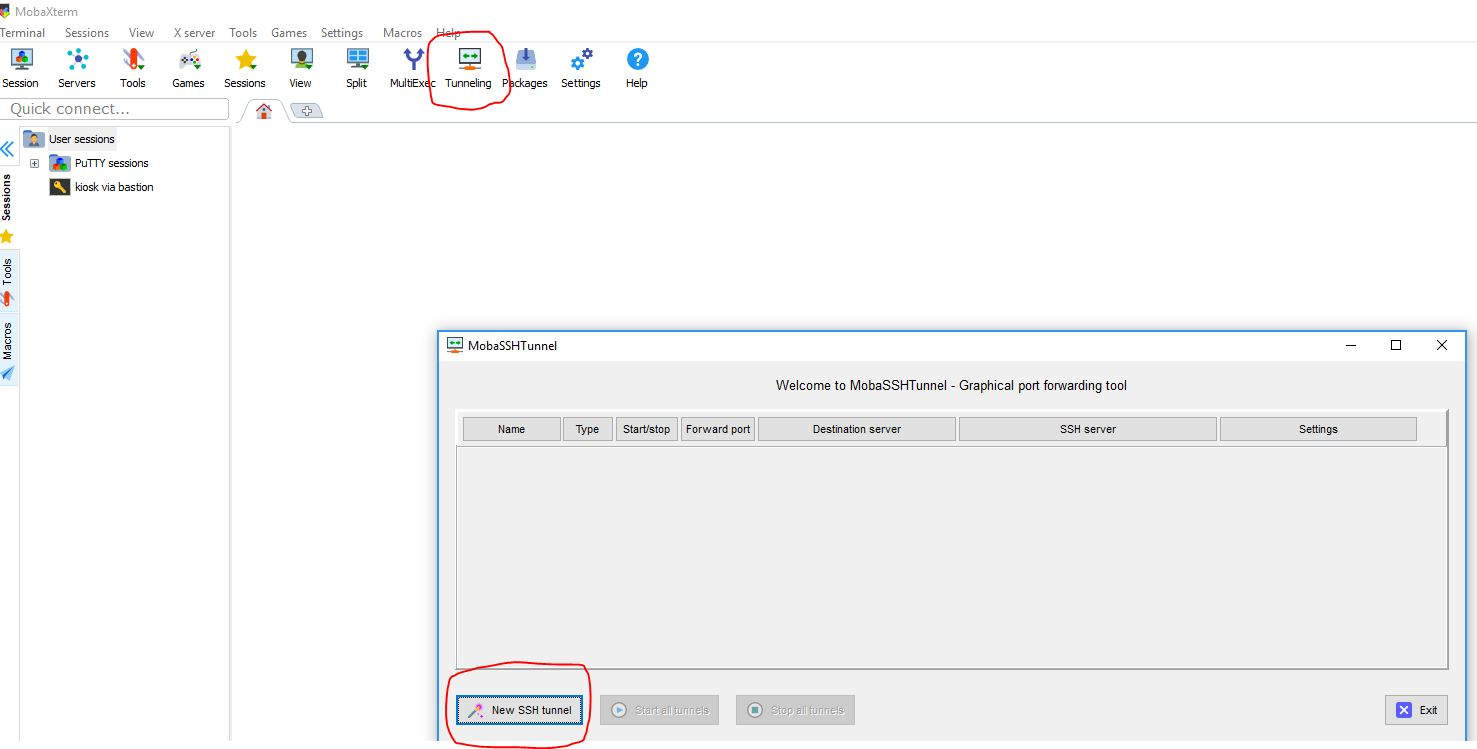 Creating a SSH tunnel using MobaXterm on Windows : Center for