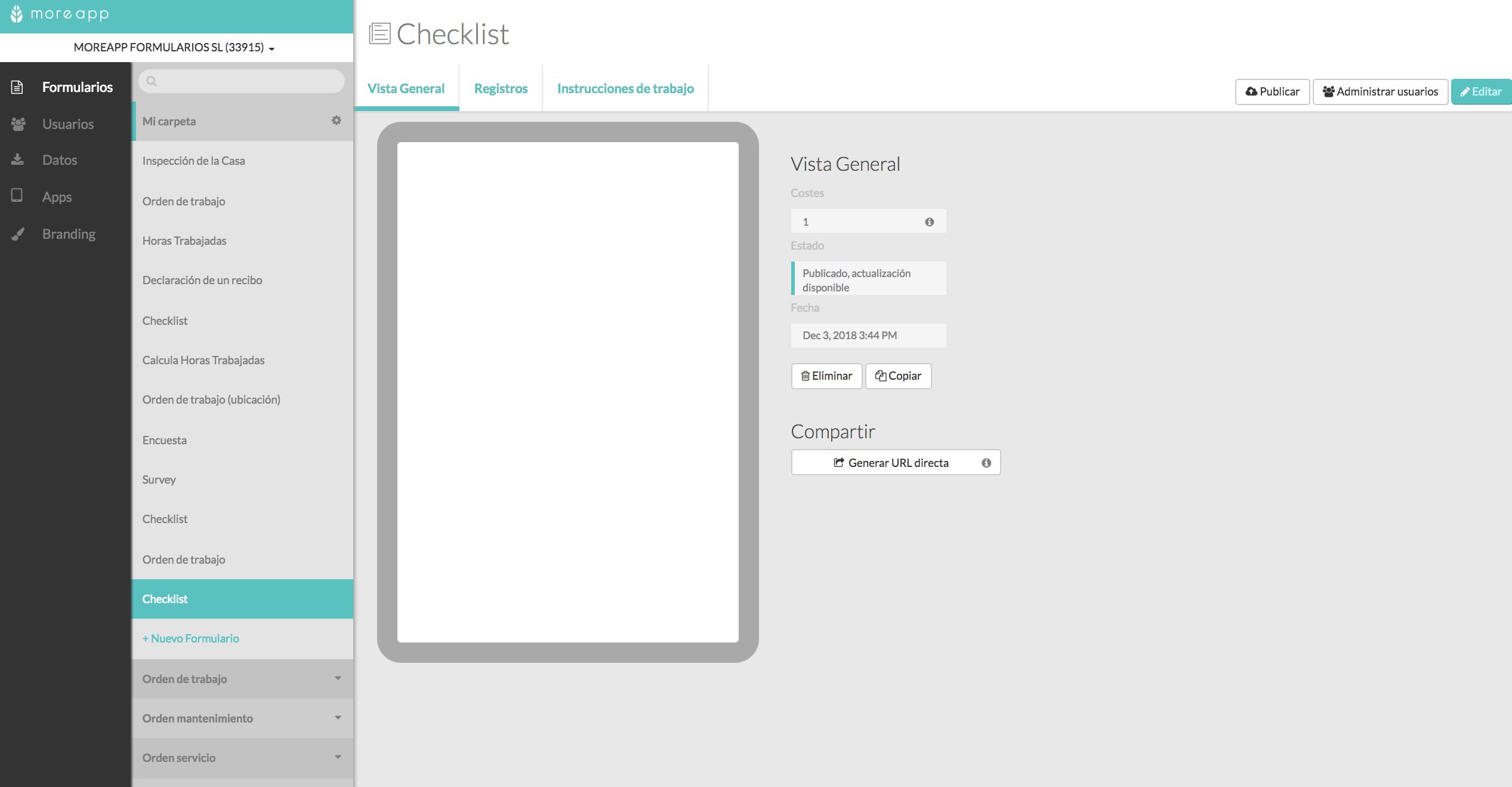 Checklist Plataforma MoreApp