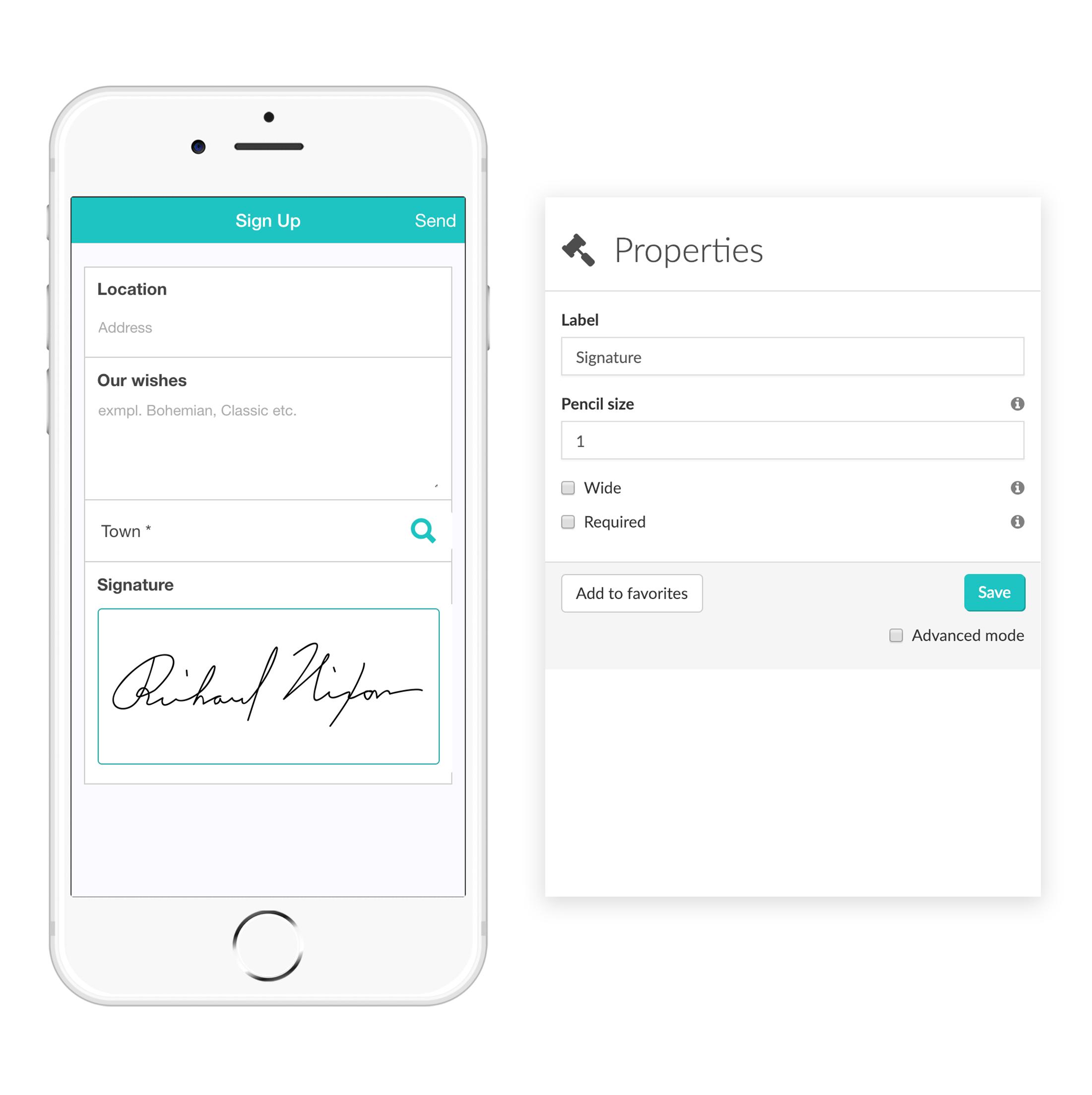 Widget-Signature MoreApp Formularios