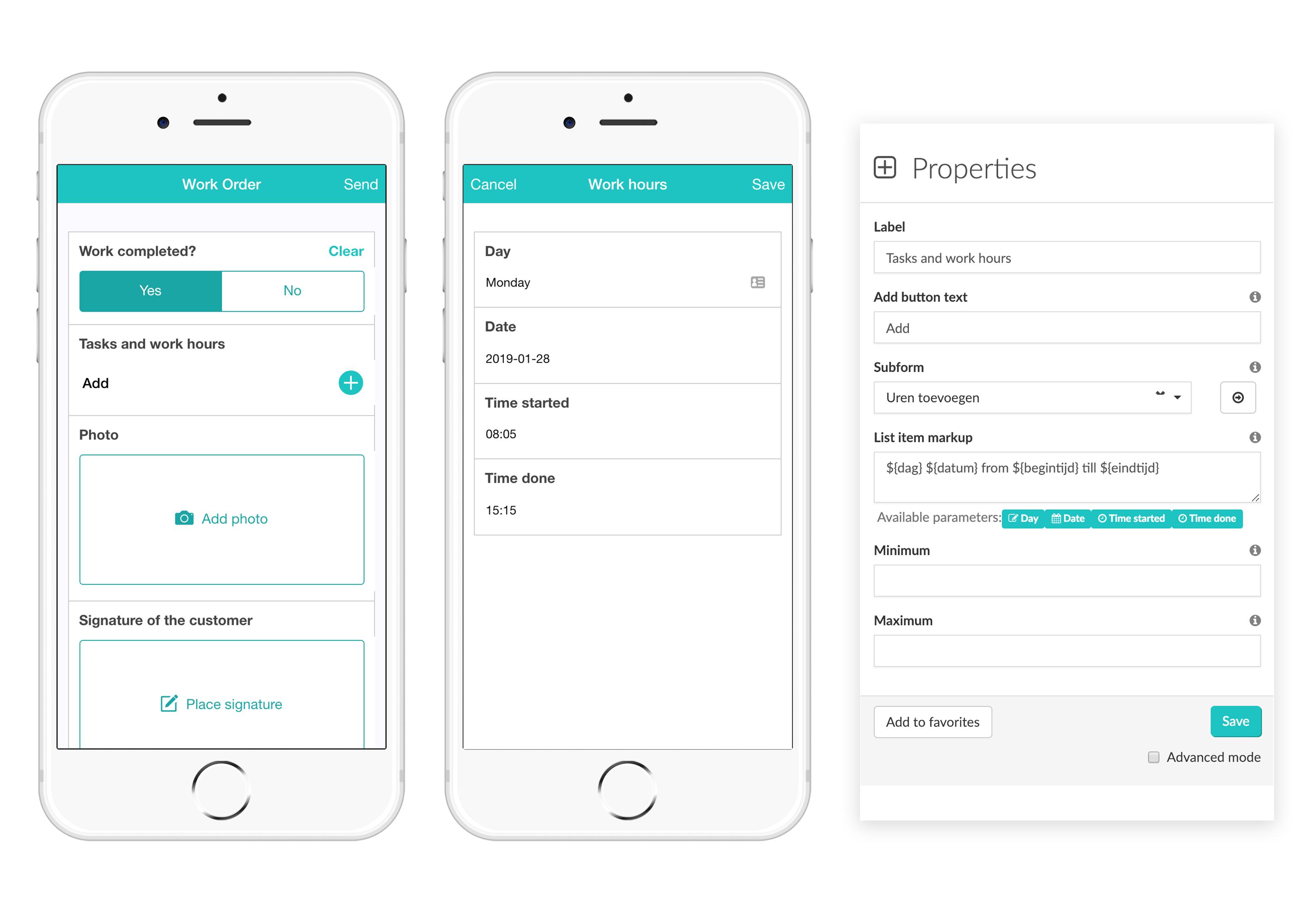 Widget-Subform MoreApp Formularios