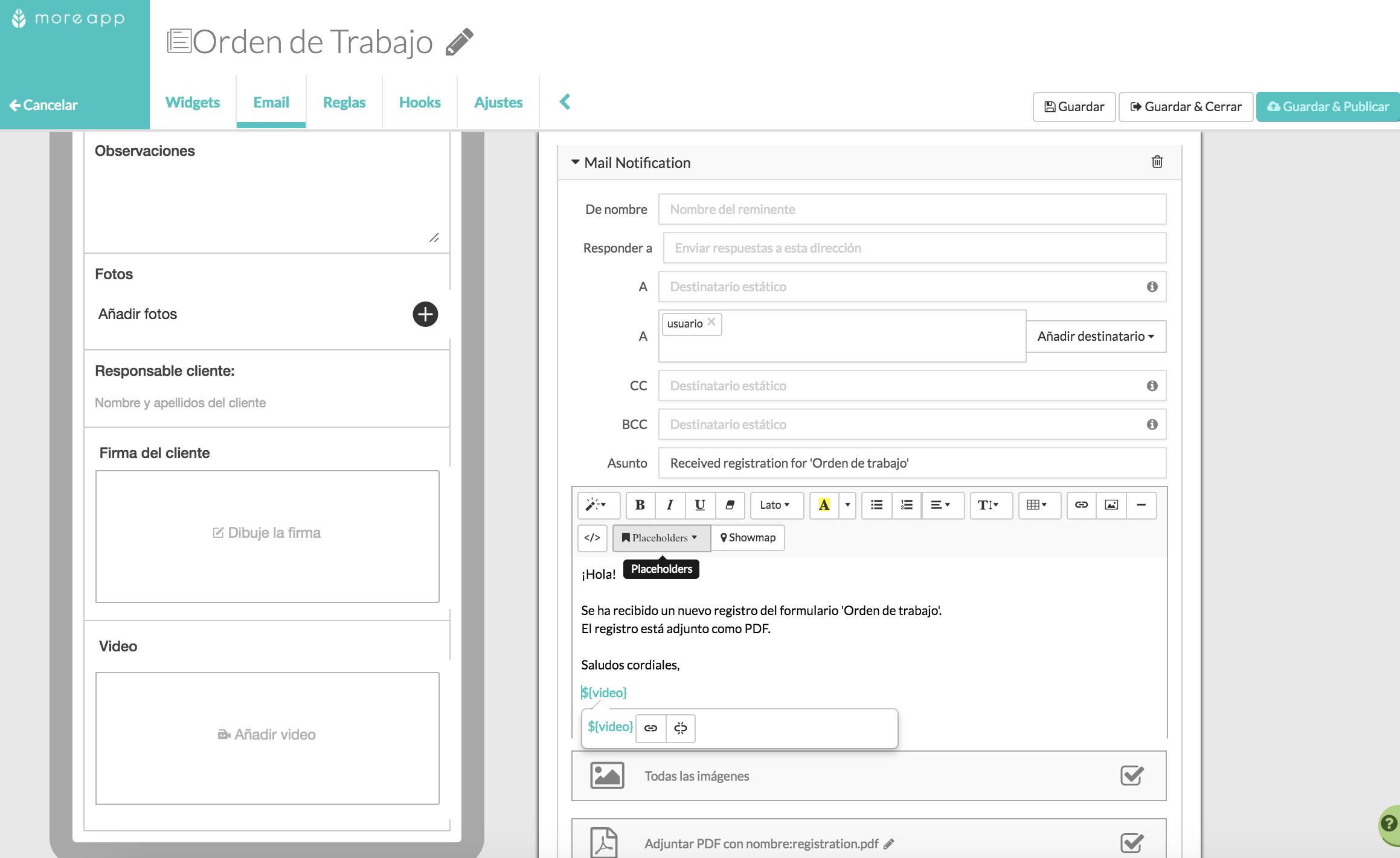 Configura tu video en el Email