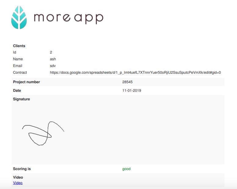 PDF con link de Video MoreApp