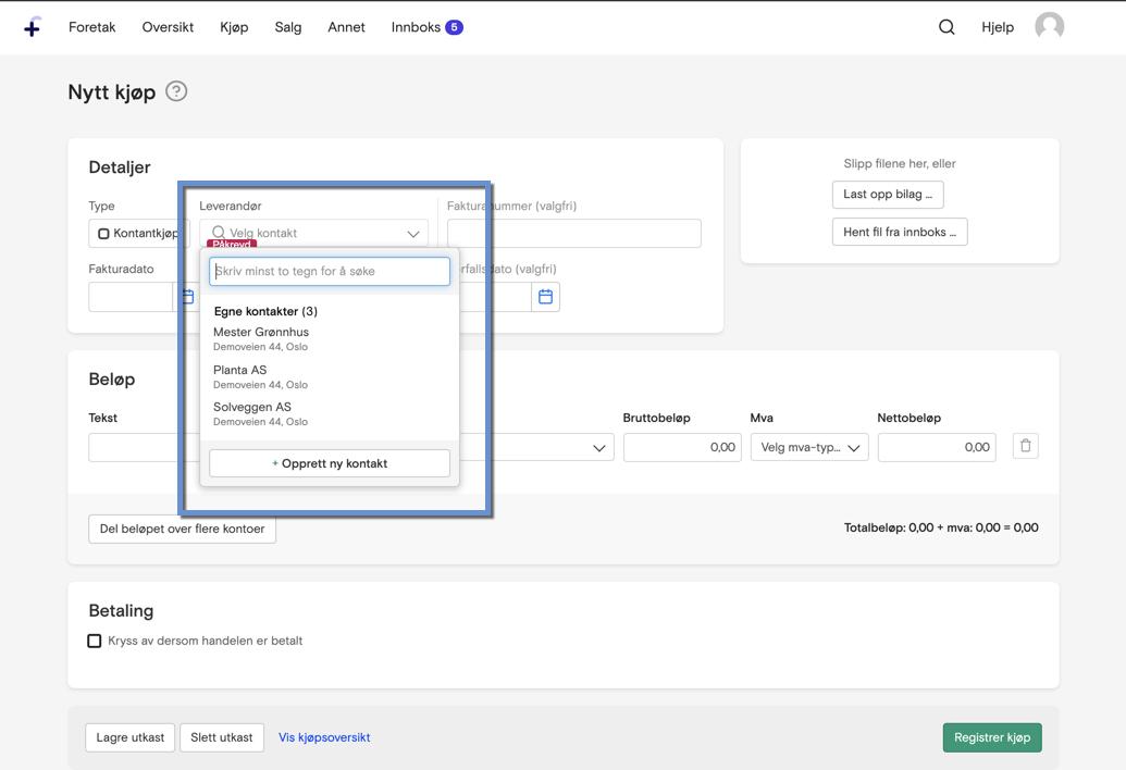 4e1386ae Fiken vil automatisk prøve å foreslå riktig leverandør basert på det som  står på bilaget. Du kan også velge leverandøren manuelt fra en liste over  egne ...