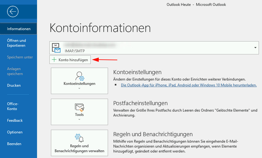 E-Mailprogramm: Outlook Office 10 : Support