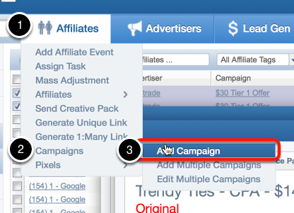 Creating campaigns through the hover menu