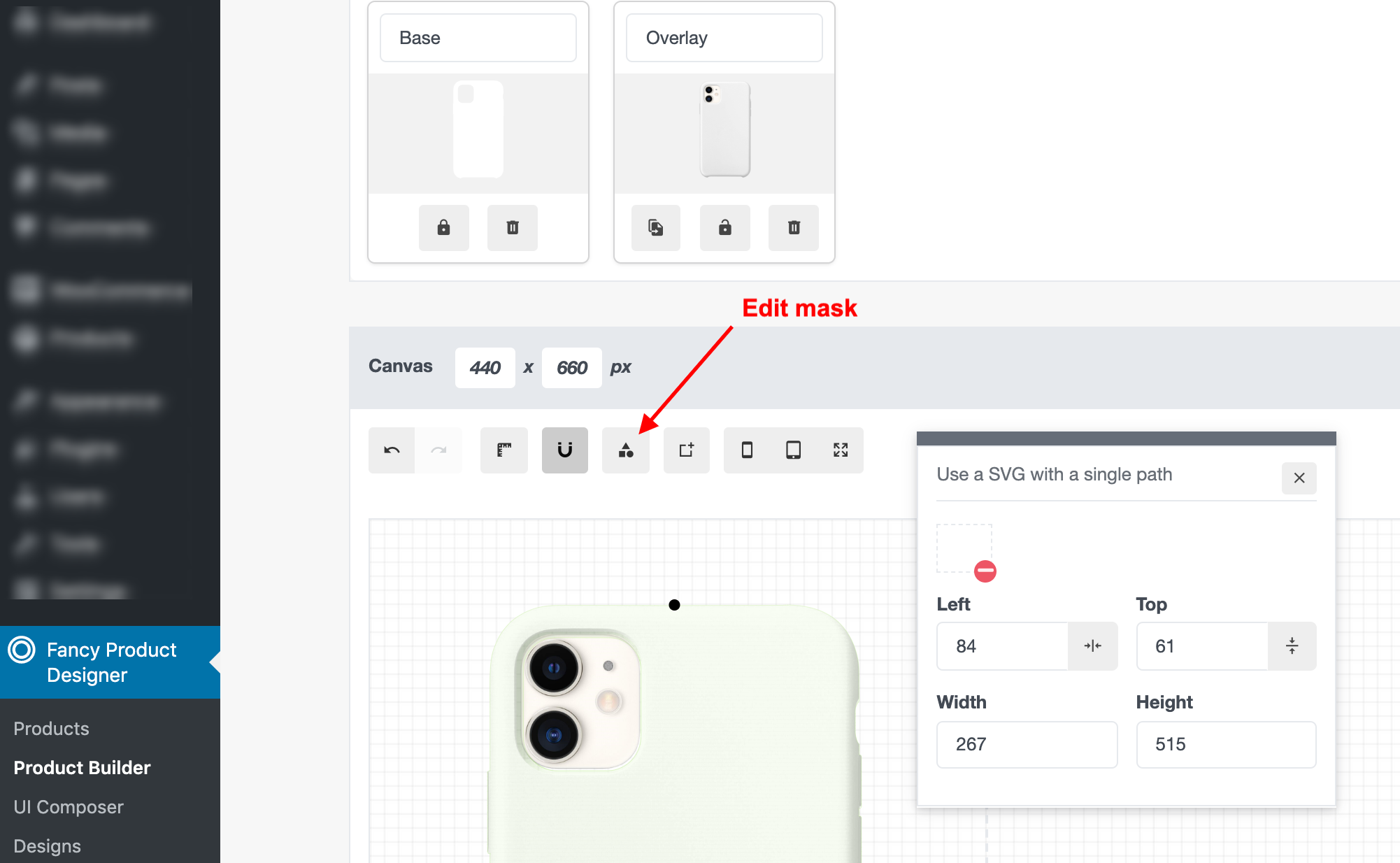 Using An Svg As Mask For A View Fancy Product Designer