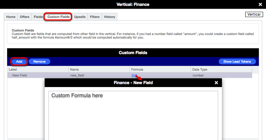 Vertical card > Custom Fields (Lead Gen)