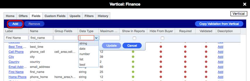 Vertical card > Fields > Adding a Field (Lead Gen)