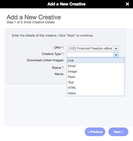 Adding a Link Creative