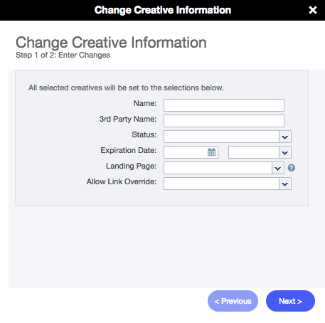 Change Creative Information Wizard