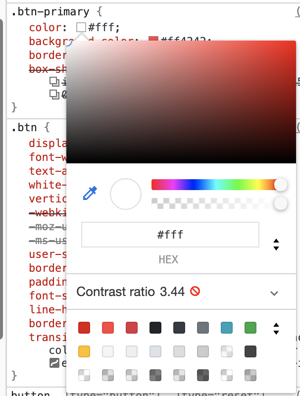 Dev tools showing inadequate color contrast