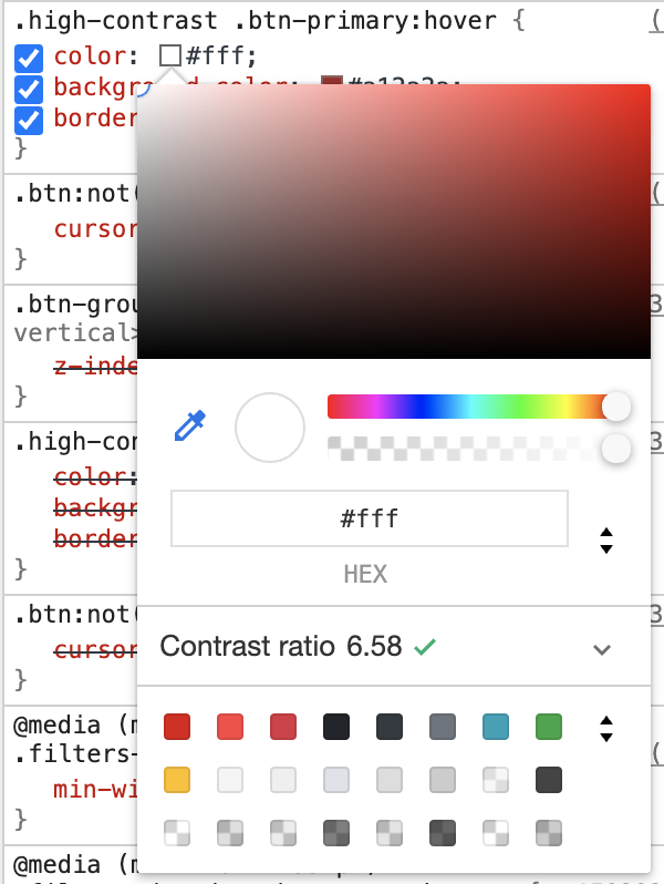 Dev tools showing adequate color contrast