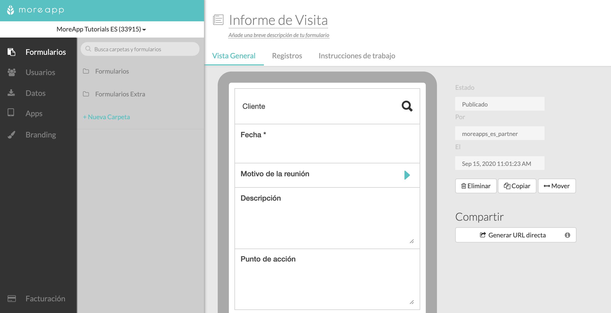 Buscar Formularios en Plataforma MoreApp