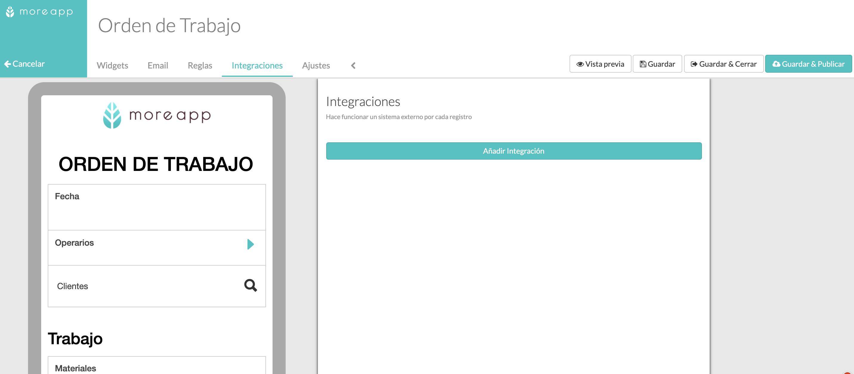 Integración MoreApp con GoogleSheets