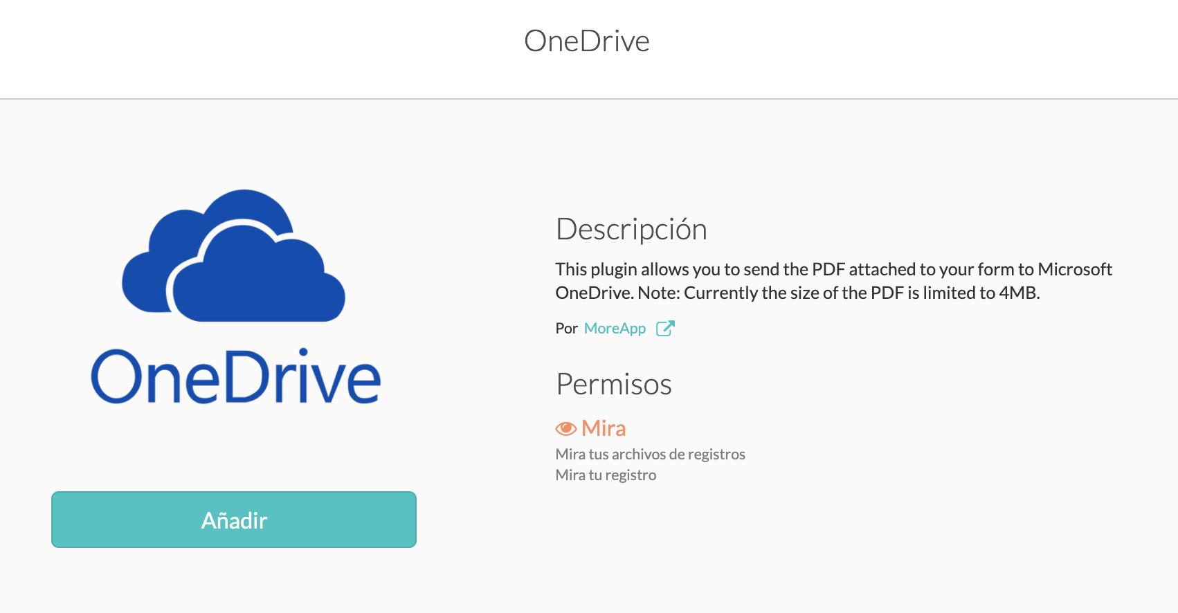 Integra MoreApp con OneDrive