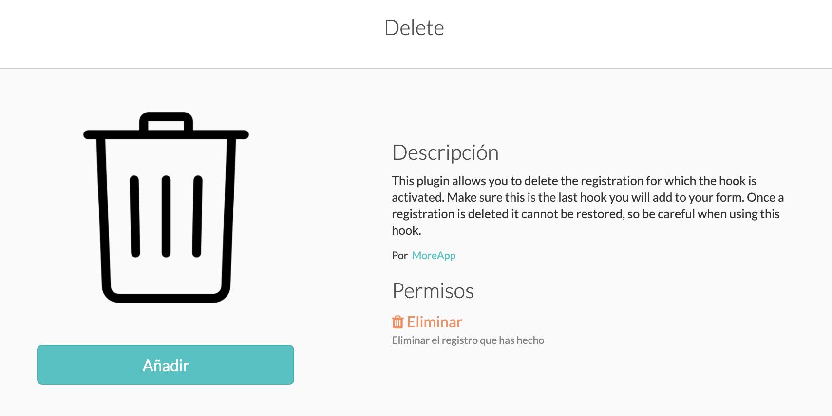 Integración Delete MoreApp