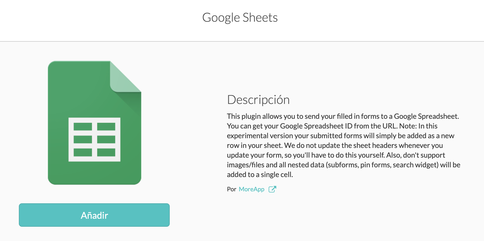 Integra MoreApp con GoogleSheets