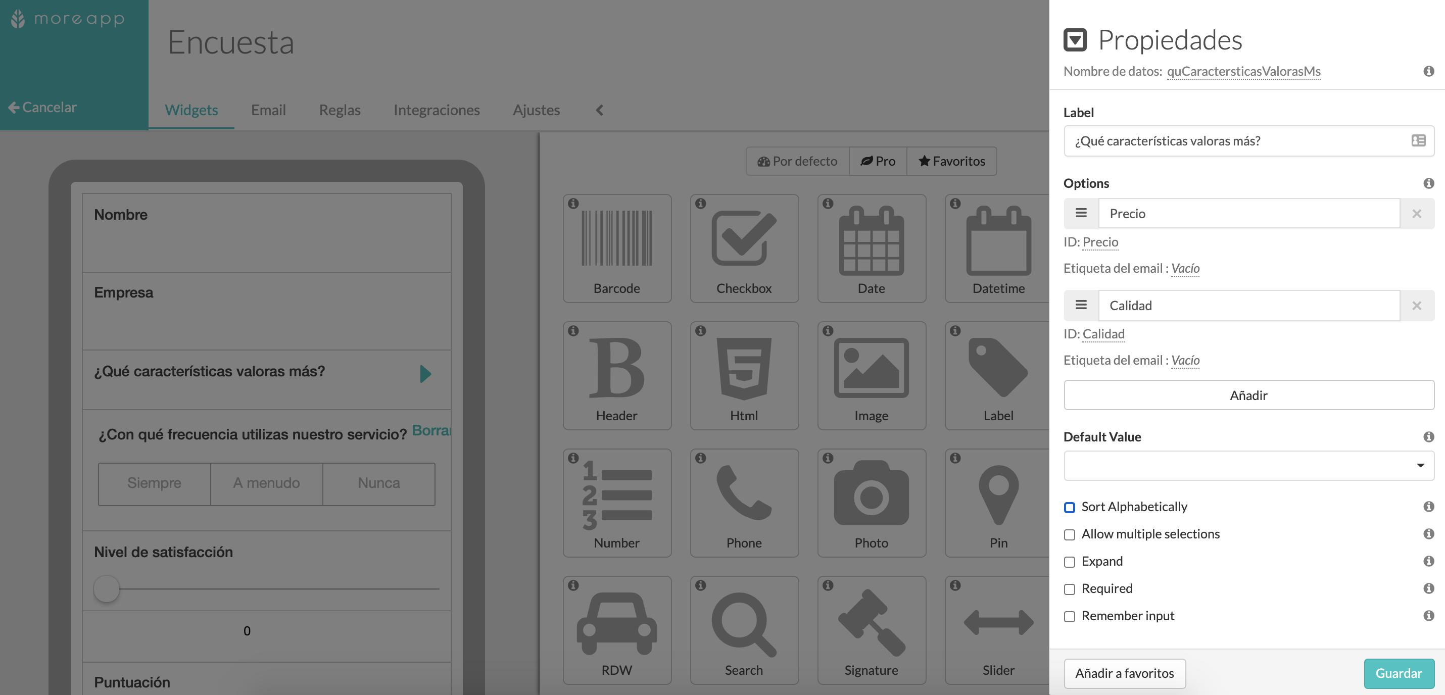 Widget-Lookup Plataforma MoreApp