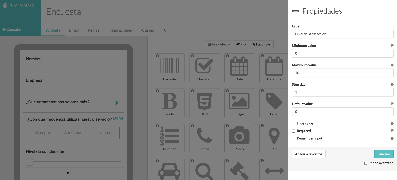 Widget-Slider Plataforma MoreApp