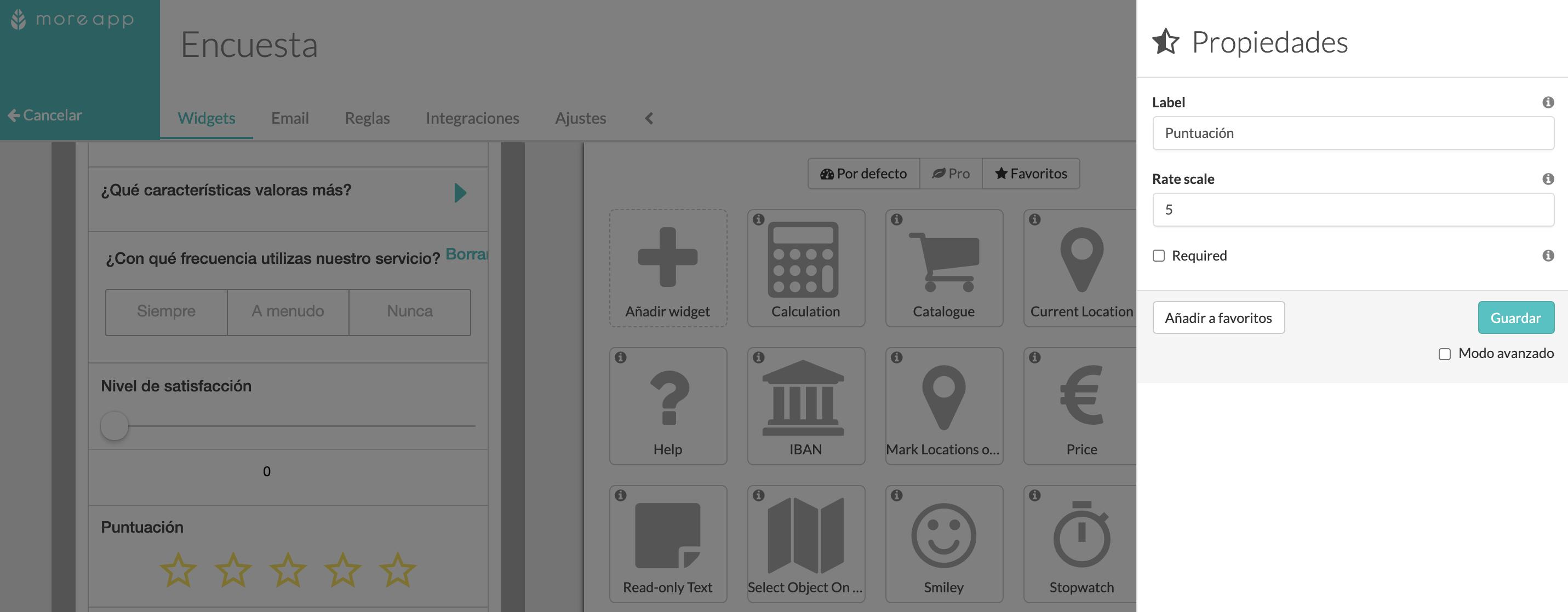 Widget-Rating Plataforma MoreApp