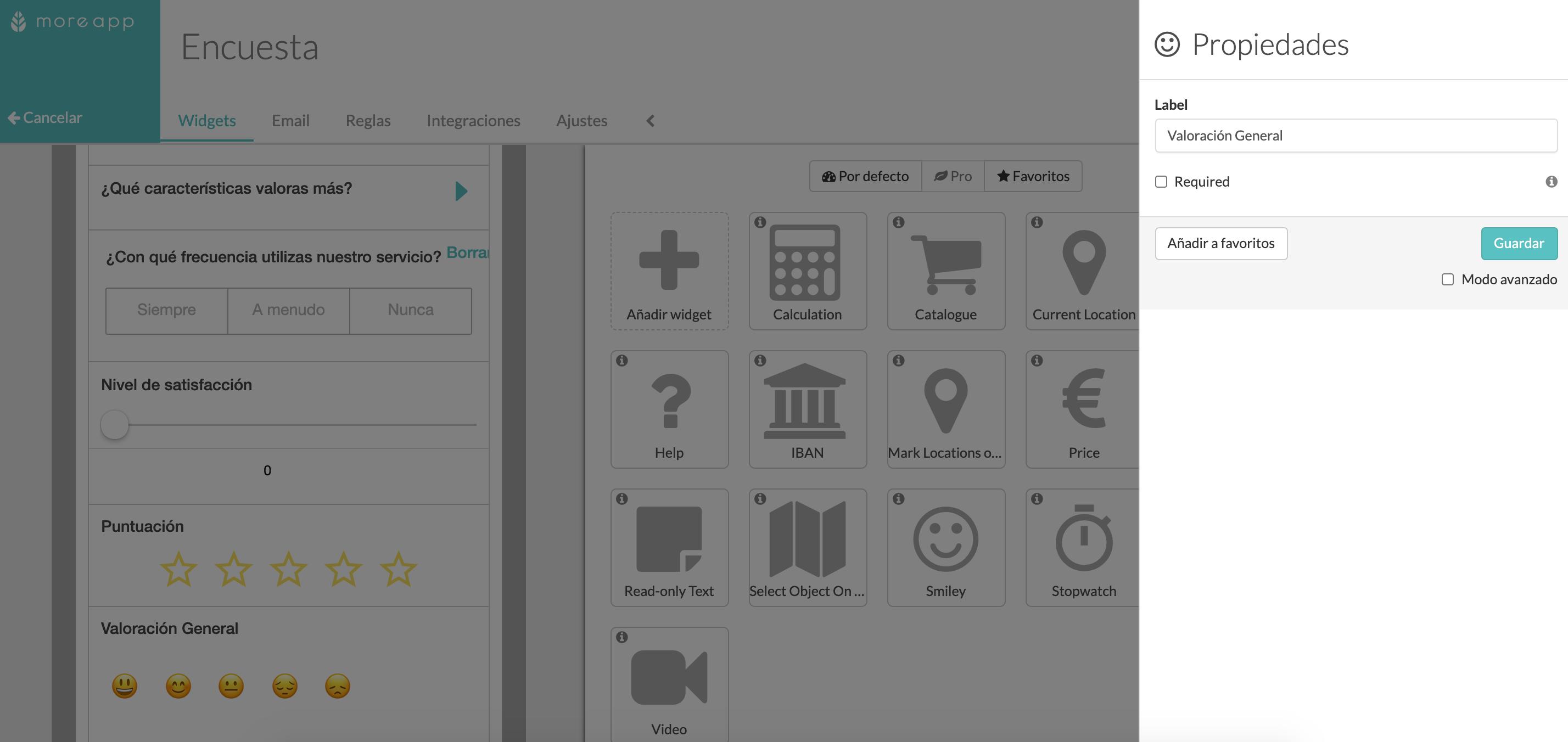 Widget-Smiley Plataforma MoreApp