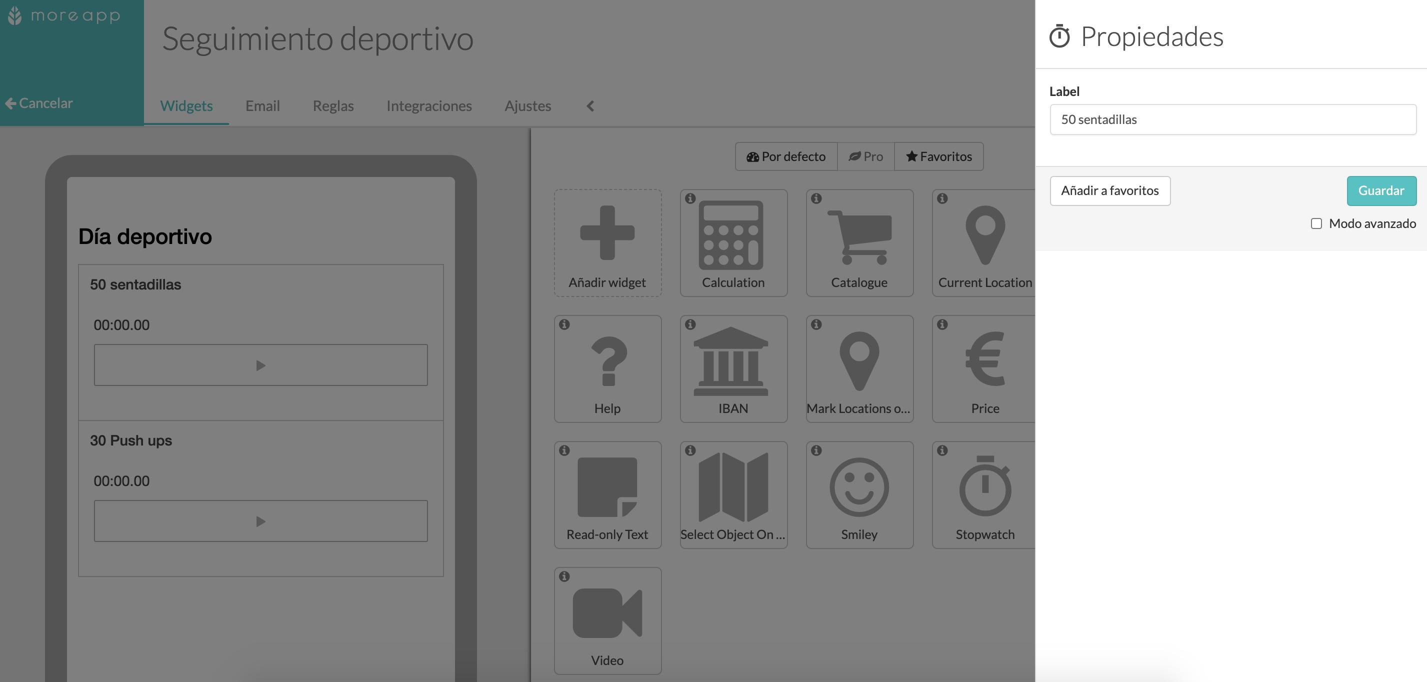 Widget Cronómetro Formulario Digital MoreApp