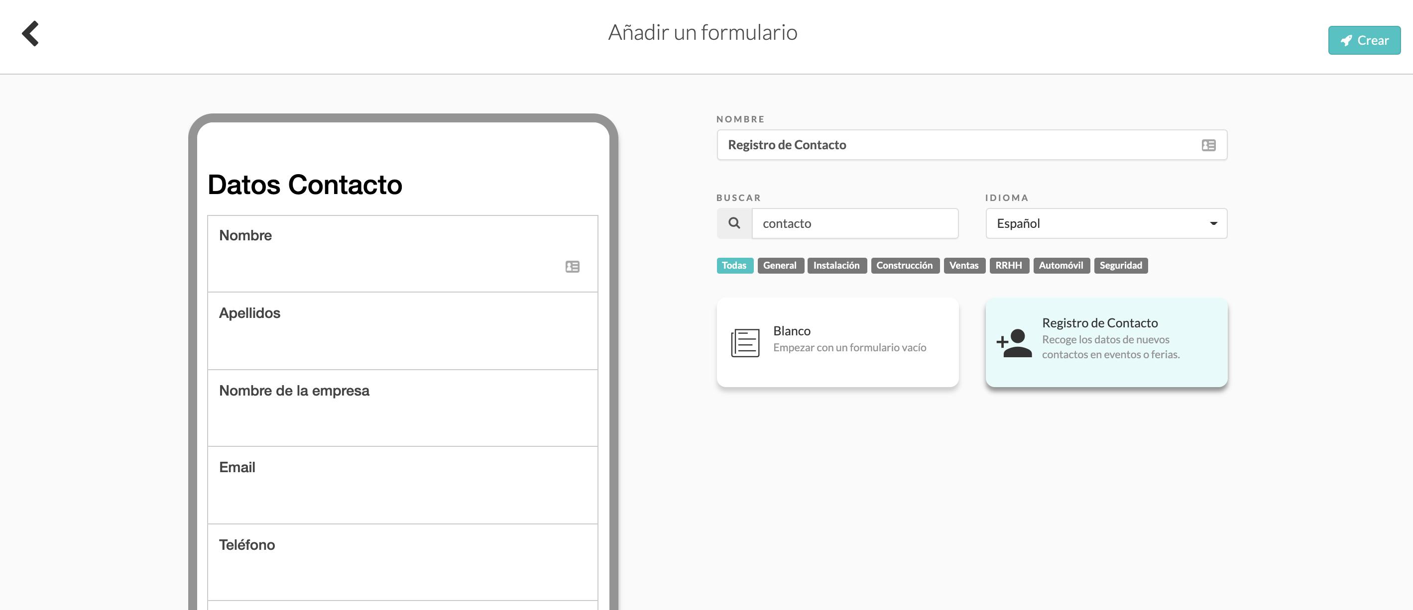 Formulario Registro de Contacto MoreApp