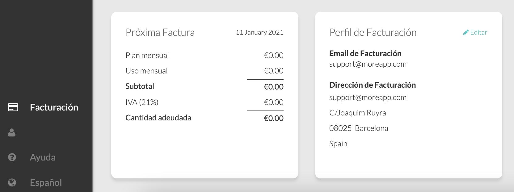 Email de Facturación MoreApp