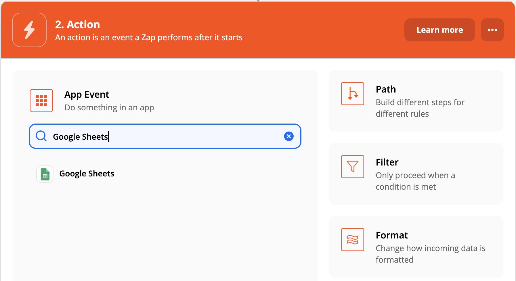 Action Zap Google Sheets