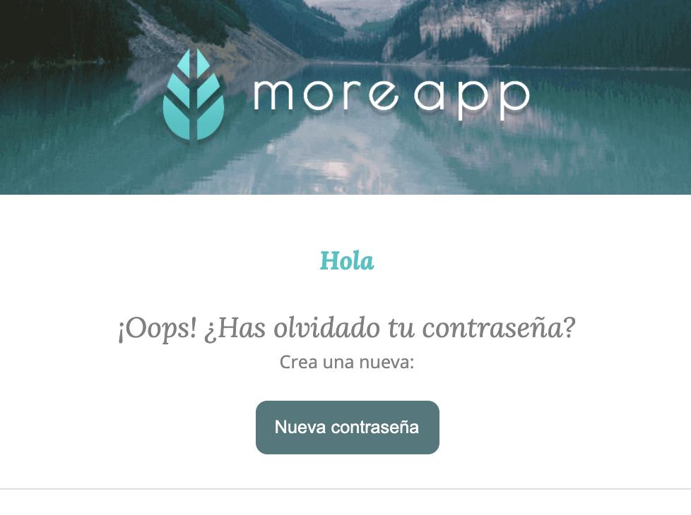 Nueva Contraseña MoreApp
