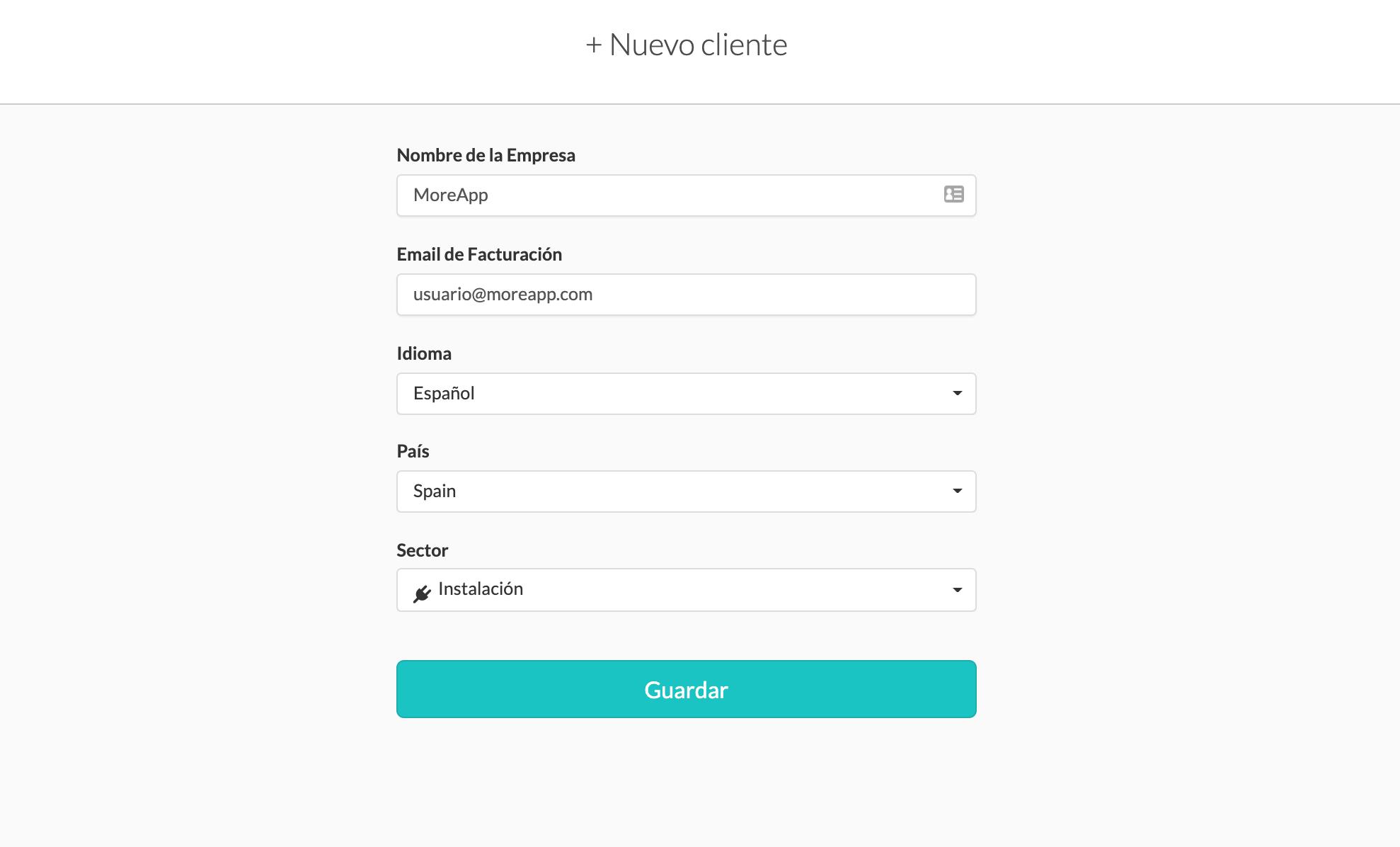Datos Nuevo Cliente MoreApp